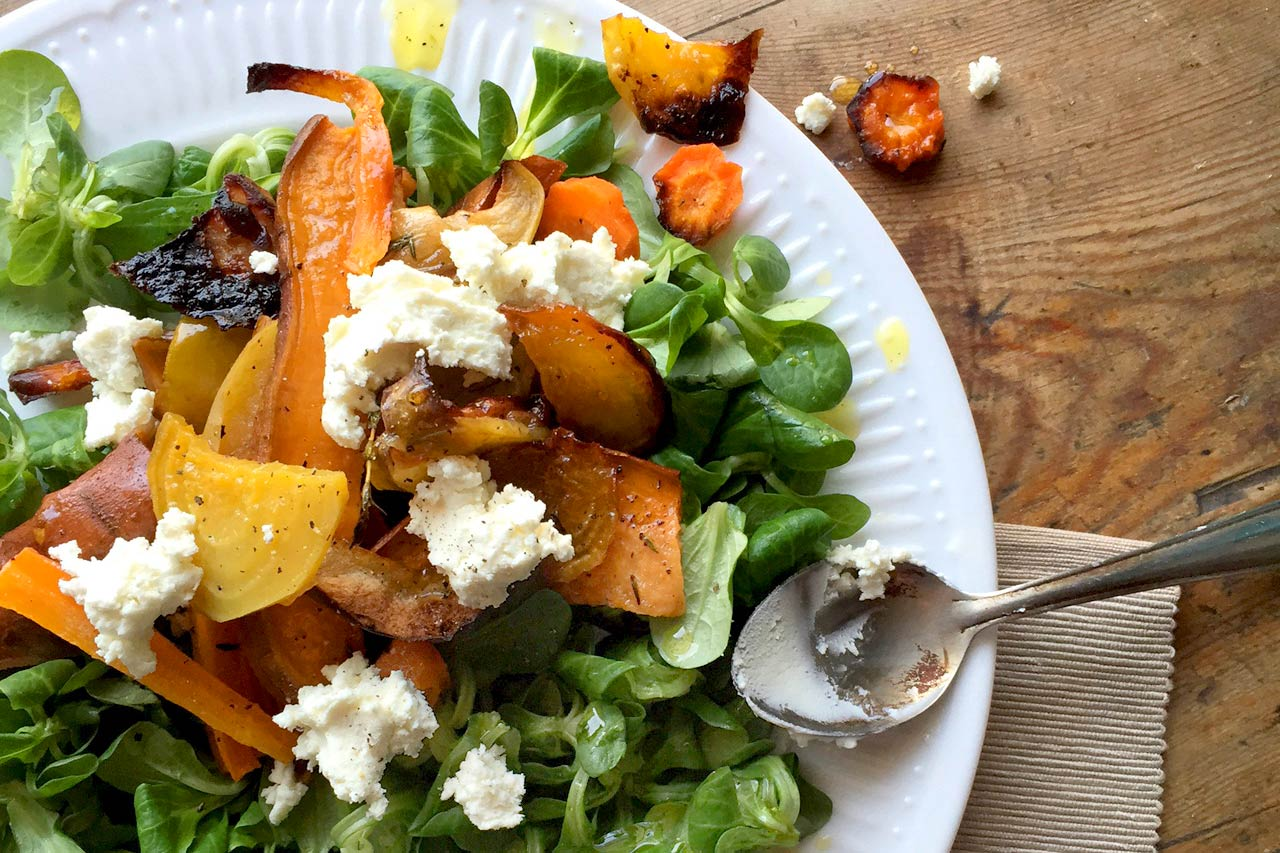 Winter Root Vegetable Salad using Pomora Extra Virgin Olive Oil